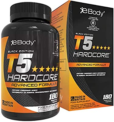 T5 Hardcore for Men & Women which Contains L-Tyrosine, Chromium, Vitamin B6 & Botanical Extracts, Mens Health Reviewed & Made in The UK (180 Vegetarian Capsules)