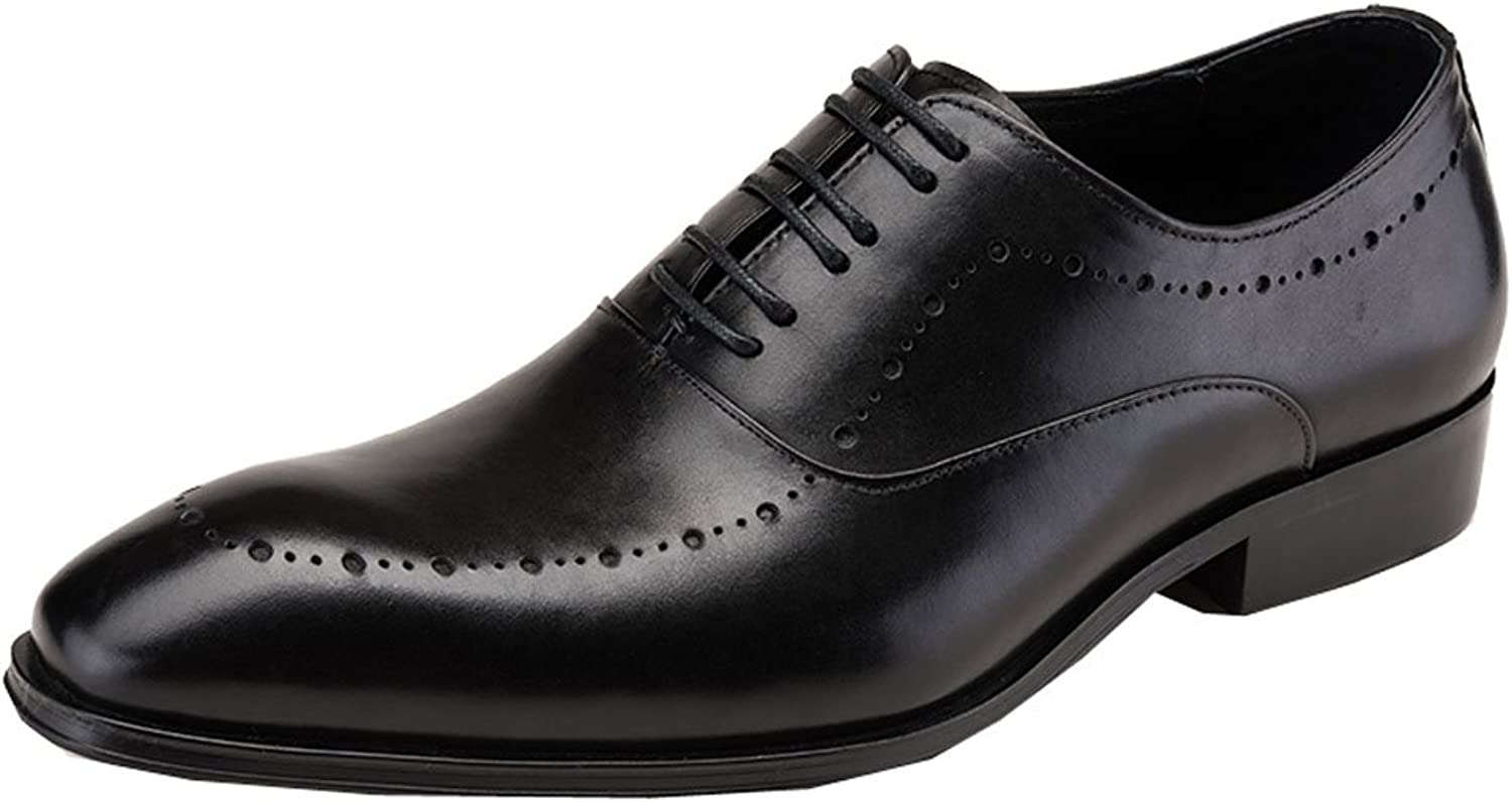 MedzRE Men's Classic Leather Derby shoes Lace up Oxfords in Black
