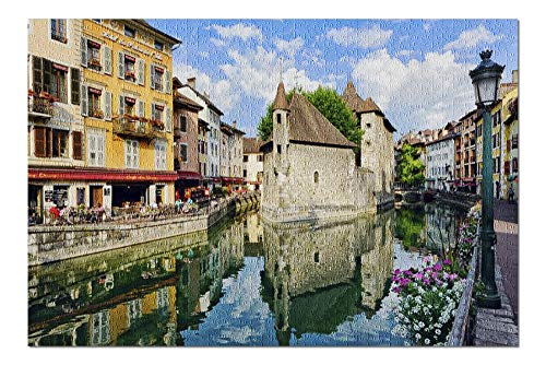 Annecy, France - Medieval Town on a Canal 9036342 (19x27 Premium 1000 Piece Jigsaw Puzzle, Made in USA!)