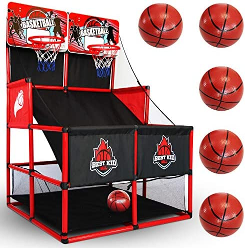 BESTKID BALL Indoor Basketball Game Double Shot Basketball Arcade Indoor Basketball Hoop for product image