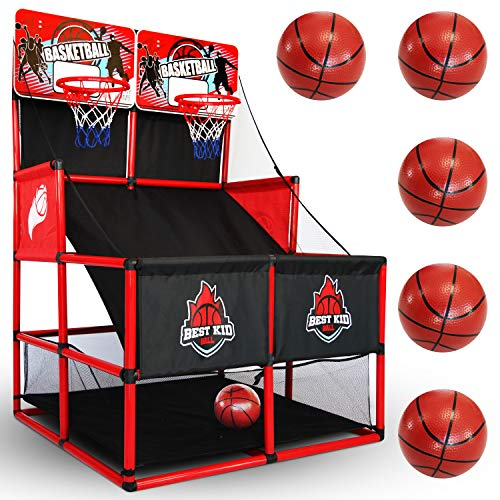 BESTKID BALL Indoor Basketball Game - Double Shot Basketball Arcade – Indoor Basketball Hoop for Kids – Premium Basketball Arcade Game Indoor with Pump – Easy and Quick Assembling