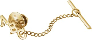 Beautiful Yellow gold 14K Tie Tack with Block Initial
