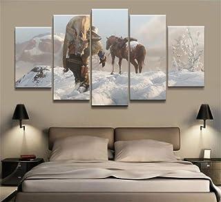ZKPWLHS ImpresionessobreLienzo Juegos De 5 Piezas Red Dead Redemption 2 Arthur Morgan Gutch Western Band Pintura Mural Decoración del Hogar [A] con Marcos
