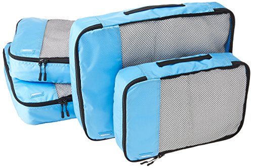 AmazonBasics 4 Piece Packing Travel Organizer Cubes Set - 2 Medium and 2 Large, Sky Blue