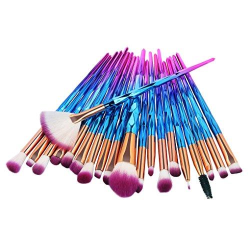 Lidahaotin 20pcs/Set Fibre Fard Pinceau de Maquillage Fondation Fard à Paupières Poudre Brosses cosmétiques Contour Blending Kit 3#