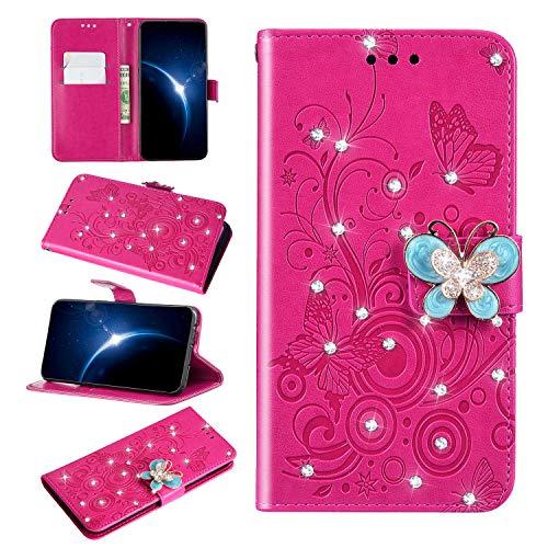 Urhause PU Leder Hülle Flip Cover Wallet 3D Ledertasche Schmetterling Kristall Strass Glitzer Leather Brieftasche Handytasche Klapphülle Lederhülle Kompatibel mit Huawei P30 Lite,Rose rot