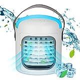 UBEGOOD Mobile Klimaanlage, Luftkühler Luftbefeuchter 4-in-1 Persönliches Klimaanlag e mit 4 Eiswürfelschale 7 LED Nachtlicht USB Air Conditioner Tragbare Klimageräte, für Wohnzimmer Büro Reise
