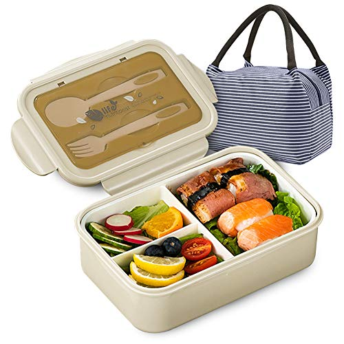 Bento Boxes for Kids and Adults,1400ML Leak-Proof Lunch Container with Lunch Bag, Spoon & Fork, BPA-Free and Food-Safe Bento Lunch Box Japanese with 3 Compartment (Beige)