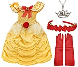 Girls Belle Beauty Costume Princess Dree-up with Gloves, Headband and Necklace Accessories (X-Large (Age 9-11)) Yellow
