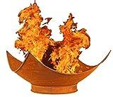 NICK and BEN Feuer-Schale Pflanz-Schale Terrassen-Ofen Edelrost Designer Rusty Garten-Kamin Feuer-Korb Feuer-Stelle 60cm Grill-Feuer