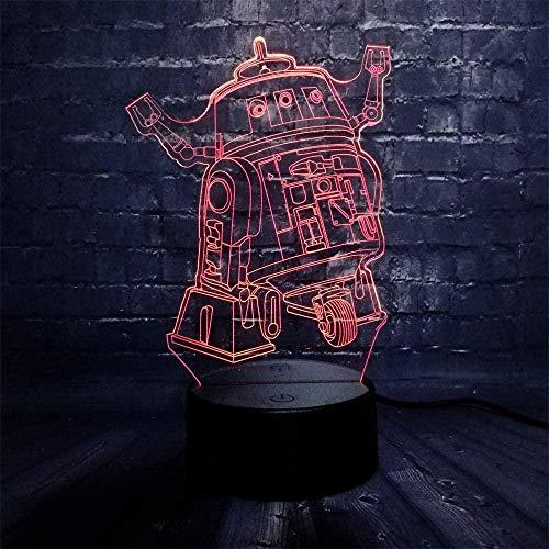 Movie Star Wars Machine Pubg TPS Branch Lámpara de ilusión 3D, 3D LED USB lámpara de estado de ánimo con control remoto óptico táctil 7 colores cambiantes de luz, lámpara de ilusión óptica 3D