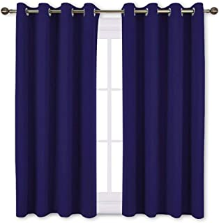NICETOWN Blackout Curtain Panels Grommet - All Season Eyelet Top Blackout Draperies for Bedroom/Living Room/Glass Door, Dark Blue, 1 Pair of 52 x 45 Inches