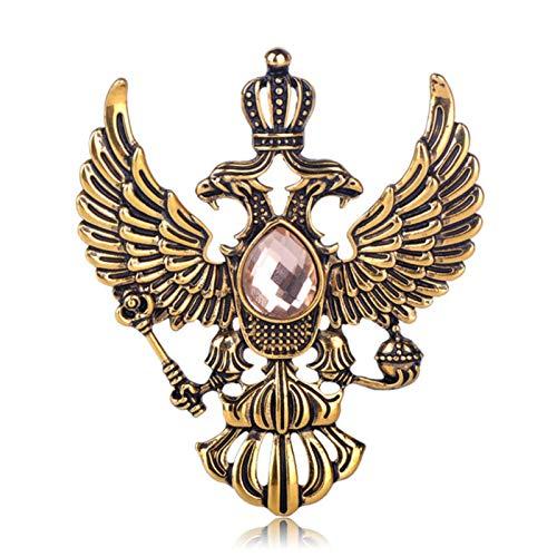 FISH4 Broches con Forma de Emblema Ruso Vintage, Broche de Diamantes de imitación de Color Dorado Antiguo, Regalos de Recuerdo para Hombres y Mujeres, Pines de Solapa