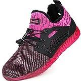 tqgold Zapatillas de Seguridad para Hombre Mujer Zapatos Trabajo con Punta de Acero Rosa Talla 36
