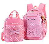 JiaYou Primary Girls Students Polyester School Backpack and Lunch Bag 2/3 Sets(StyleA Pink2Sets)
