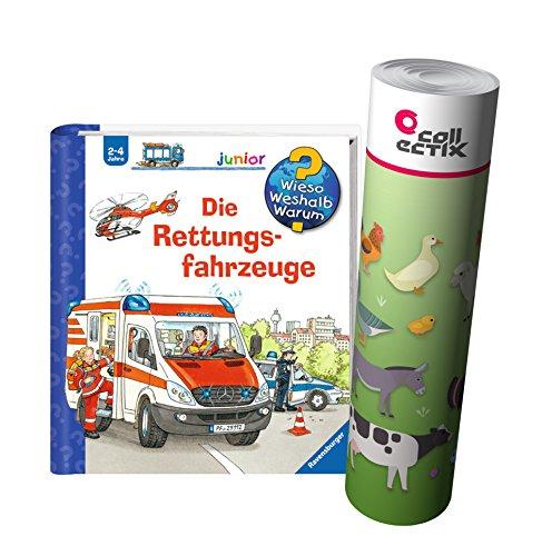 Ravensburger Junior Buch 2-4 Jahre | Die Rettungsfahrzeuge + Kinder Bauernhof Tiere Poster