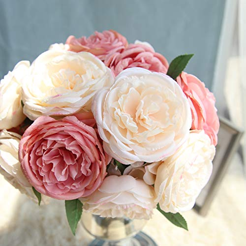 TRvancat Artificial Flowers - 2 Pack Silk Peony Flowers Bouquet 10 Heads Fake Flowers for Wedding Home Decoration (Pink)