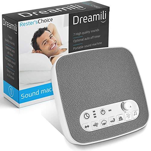 White Noise Sound Machine – Sleep Therapy Noise Maker Plays White Noise, Ocean, Storm, Rainforest, More – 7 Soothing Sounds Machine with USB Port & Sleep Timers (2019)