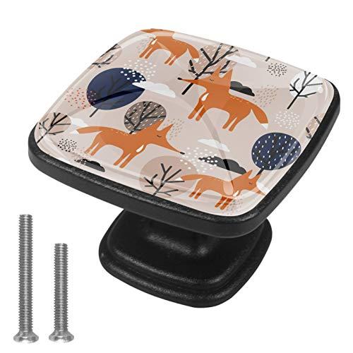 4er Set Quadrat Möbelknöpfe Kinderzimmer Set Cartoon Fox Tree Süß Schubladenknöpfe Kinderzimmer Personalisierter Druck, einzigartig Möbelknäufe 3x2.1x2 cm