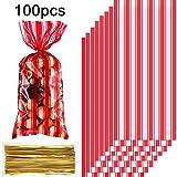 100 Bolsas de Regalo de Fiesta Carnaval Circo Plástico Bolsas de Regalo Golosina Caramelo Galleta Fiesta Celofán Transparente Impreso de Raya Roja y Blanca con 100 Lazos de Torcedura Oro para Fiesta