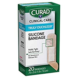 Curad Truly Ouchless Silicone Adhesive Bandages, Fabric Bandages are .75 x 3 inches, for Delicate or Sensitive Skin, 20… 4 EZ Release Adhesive Technology won't pull skin or hair or leave sticky residue when the bandage is removed Great for kids and those with aging or delicate skin Easily repositionable to get coverage just right
