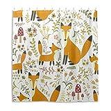 Orediy Wasserdichter Duschvorhang, niedliche Füchse, 100 prozent Polyester, Anti-Schimmel, Badvorhang mit 12 Haken, für Badezimmer-Dekoration, 168 x 183 cm