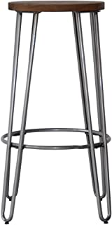 """ACEssentials 29"""" Wood Top Round Seat Bar Height Stool with Metal U-Shape Legs - 28.9"""" H x 16.9"""" D x 16.9"""" W, Wood and Natural Metal Finish"""