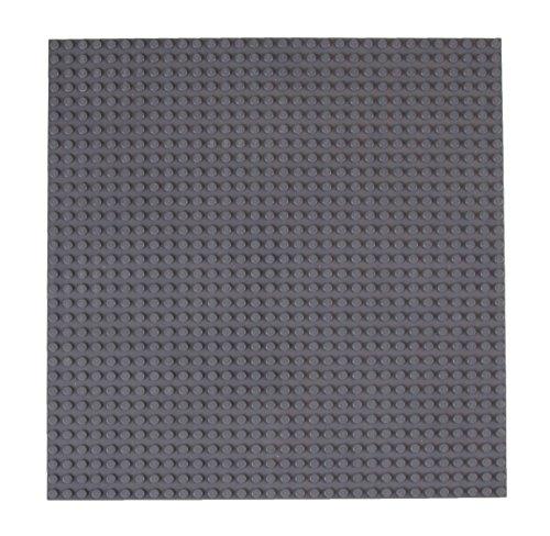 Strictly Briks Base apilable para Construir - Compatible con Todas Las Grandes Marcas - 25,4 x 25,4 cm - Gris