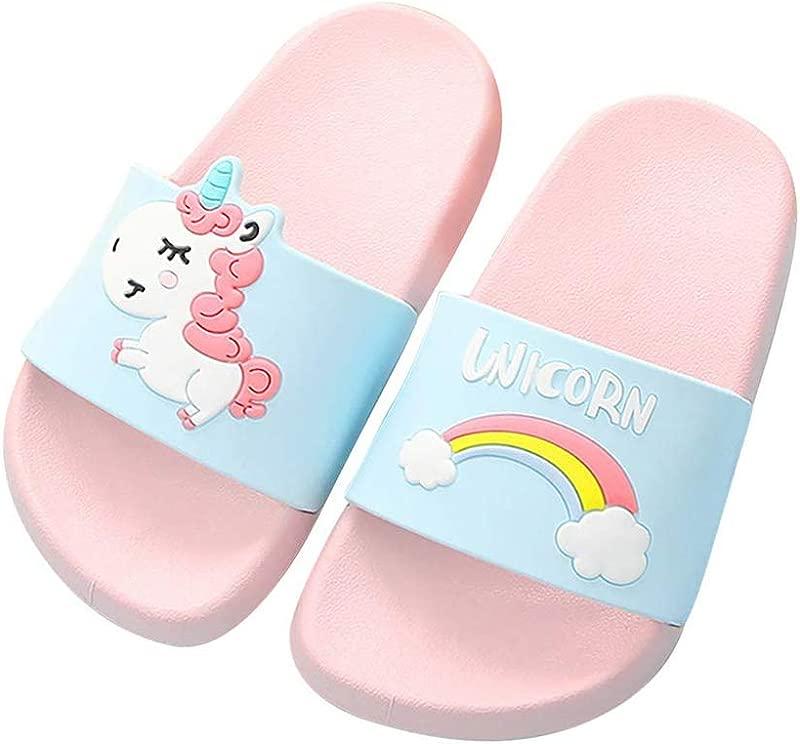 Toddler Little Kids Unicorn Shower Pool Slide Sandals Non Slip Summer Slippers Lightweight Beach Pool Water Shoes For Girls And Boys Toddler Little Kids