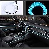 Neon LED EL cable para interior automotriz Cosplay lámpara de línea electroluminiscente LED emisora de luz decorativa con unidad de tira de luz 5V Ice Blue, 5 m