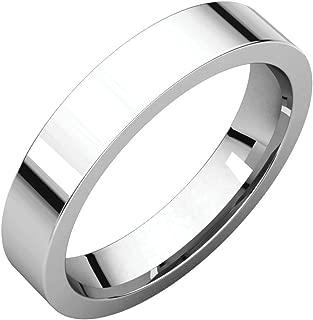 18K Palladium White 4mm Flat Comfort Fit Mens Wedding Ring Band Size 4.5