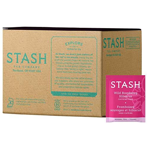 Stash Tea Wild Raspberry Hibiscus Herbal Tea 100 Count Box of Tea Bags in Foil (packaging may vary) Individual Herbal Tea Bags for Use in Teapots Mugs or Cups, Brew Hot Tea or Iced Tea