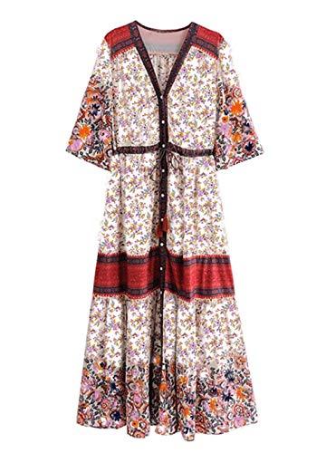 R.Vivimos Women Summer Cotton V Neck Buttons Floral Print Drawstring Bohemian Maxi Dresses (Large, Red)