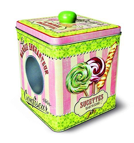 Natives 211496 Boîte à Bonbons avec Fenêtre, Métal, Multicolore, 12,5 x 12,5 x 14,5 cm