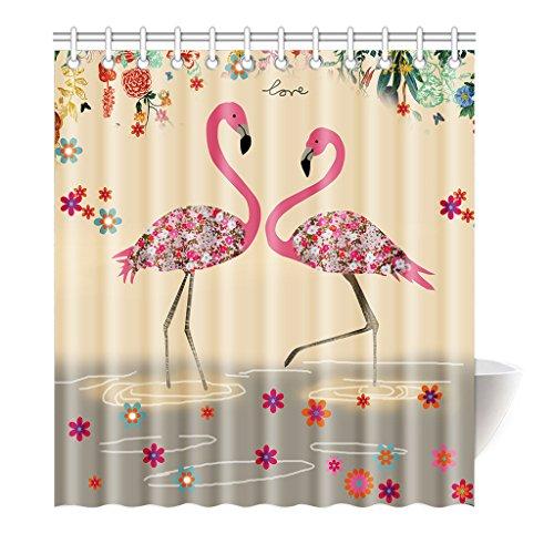 Violetpos Duschvorhang Flamingo Art Rosa Blume Hochwertige Qualität Badezimmer 120 x 180 cm