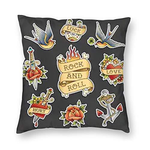 Collezione di Adesivi per Tatuaggi Old School coibentato in Cotone Rockabilly Decorativo per la casa Cuscino Decorativo Federa per Divano Divano 18x18 Pollici