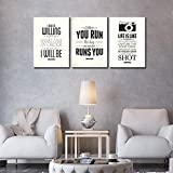 3 Pieces Inspirational Canvas Wall Art for Bedrooms Quote Motivational Posters Bathroom Decor Encouragement Prints Black and White Canvas Artwork for Living Rooms Classrooms with Quotes 16x36inches