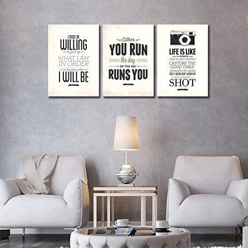 3件鼓舞人心的画布墙壁艺术的卧室引用激励海报浴室装饰鼓励打印黑白画布艺术的客厅,教室与报价16x36英寸