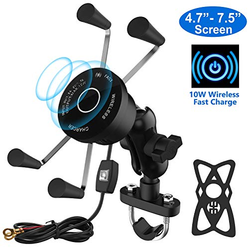 Twinto Wireless Charger Mount with USB, QC, 10W Qi Fast Charging,Motorcycle Phone Mount Holder with Charger for iPhone 11/11 Pro/11 Pro Max/Xs MAX/XS/XR/X/8/8+,Samsung S10/S10+/S9/S9+/S8