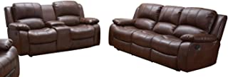 Betsy Furniture 2PC Bonded Leather Recliner Set Living Room Set, Sofa Loveseat Chair Pillow Top Backrest and Armrests 8018 (Brown, Living Room Set 3+2)