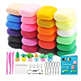 VANKERTER 24 Colors Air Dry Clay for Kids Non Toxic Magic Modeling Clay with Accessories, Tools and Project Book