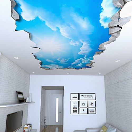 Tapete 3D Effekt (130 x 72 cm, Himmel 3D Effekt Decke Aufkleber)