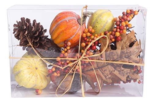 Nova-Nature künstliches Herbst-Potpourri (Kürbisse, Beerenzweige, Blätter, Tannenzapfen und Nüsse) in Klarsichtpackung