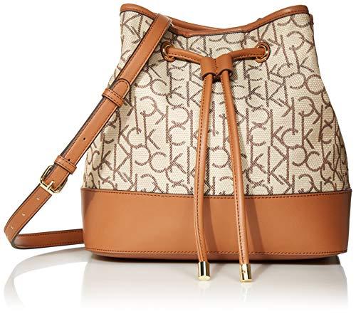 Calvin Klein Gabrianna Jacquard Bucket Shoulder Bag, Almond/Brown