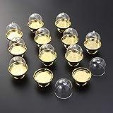 STOBOK 12pcs Mini Tortenständer Kuchenglocke Glasglocke mit Teller Hochzeit Party Servierplatte (Goldene Basis) - 6