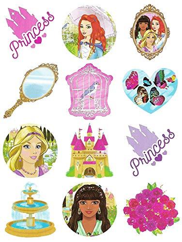 Tatouage Temporaire pour Petites Filles - Motif Princesse - 6 Paquets de 12 / 72 au Total- Pour Pochettes Surprise by The Home Fusion Company