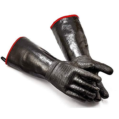 High Heat Handschoenen Griller Insulated Koken Handschoenen Barbecue/Grill/roker/Oven Mitt/Bakken, waterdicht 17 inch met lange mouwen (Color : Black)