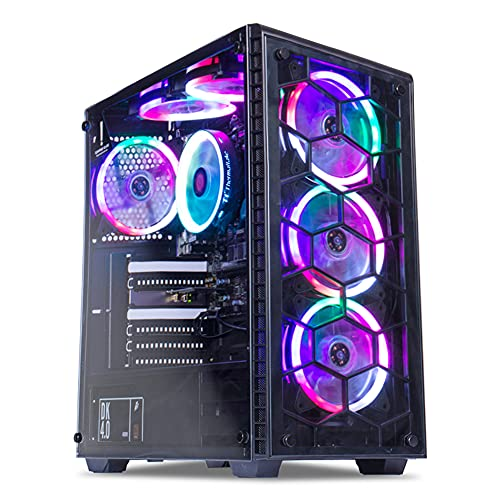 MXZ Desktop Entry Level Budget Gaming PC Computer, R3 3200G (Radeon Vega 8 Graphics), 8GB DDR4 3200, 256GB NVME M2 SSD,6 RGB Fans, WiFi & Win 10 Pro 64-bit Ready