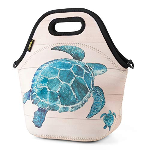 JOYHILL Neoprene, Blue Turtle Bags for Women Kids Girls Men Teen Boys, Insulated Waterproof Lunch Tote Box for Work School Travel and Picnic