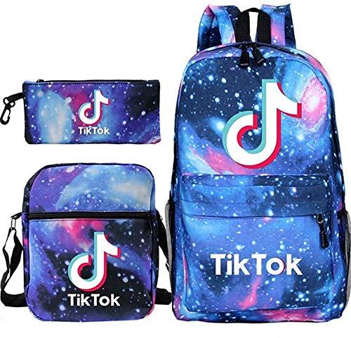 Mochila TIK Tok Mochila Escolar para Estudiantes + Bolso pequeño + Bolso para bolígrafo Conjunto de Tres Piezas-4 4